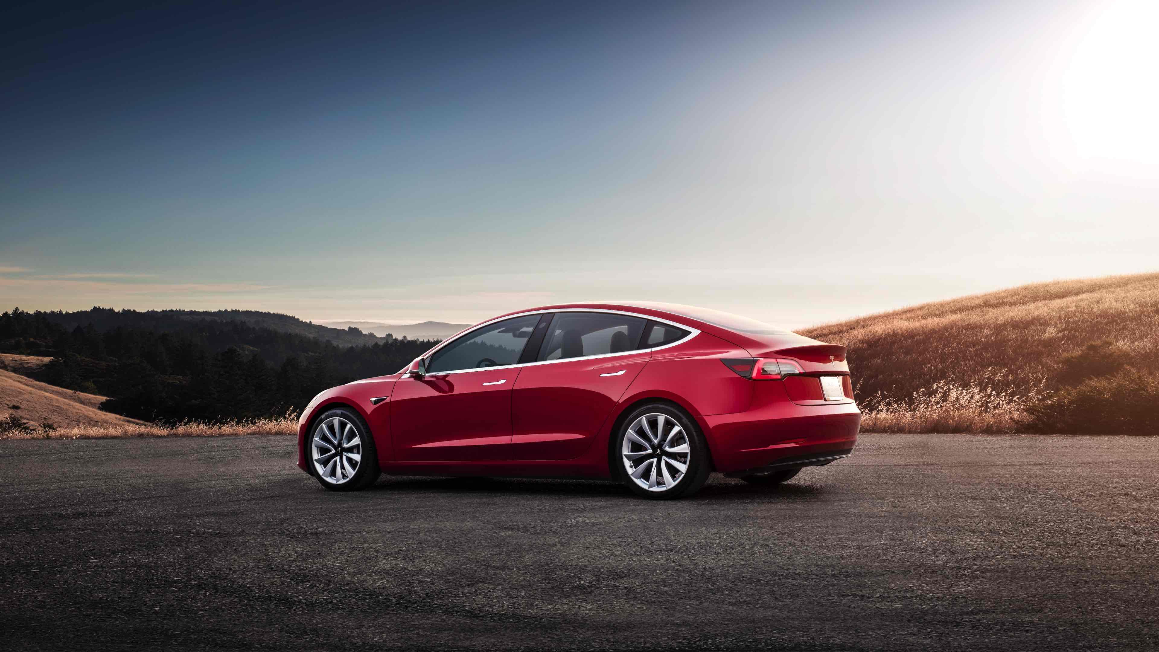 Tesla Model 3 - Red Rear Sunset